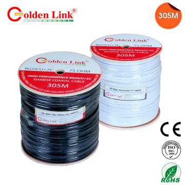 Cáp đồng trục Golden Link RG59/U+2C 305M (có dây nguồn)