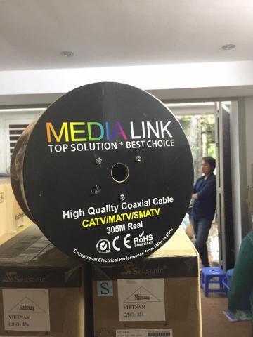 Cáp Đồng Trục Media Link RG6+2C: 100% đồng + dây nguồn hợp kim